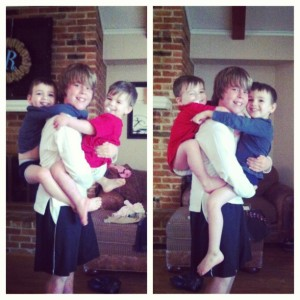 When the younger boys get to see their older cousin, they are always climbing all over him and Liam absolutely loves it. They are special together.